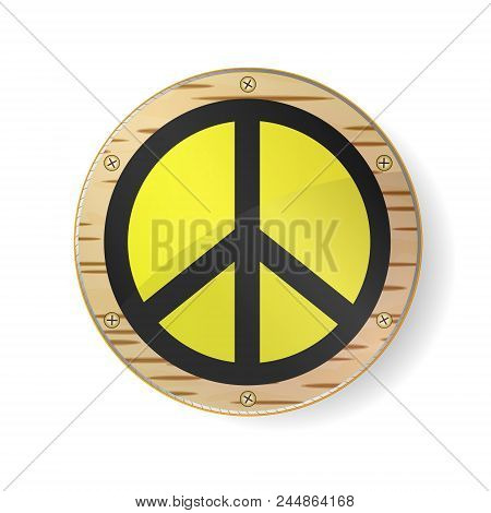 Sign Pacifist, Peace Symbol. Black Hippie Sign In Gold Frame, Circle With Birch Bark And White Backg