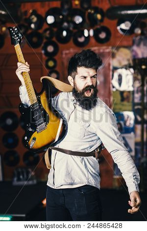 Man With Shouting Face Play Guitar, Singing Song, Play Music. Musician With Beard Play Electric Guit