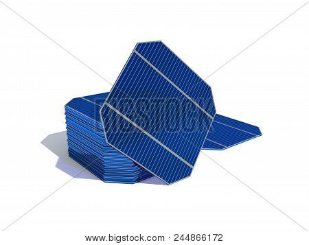 3D Rendering. A Set Of Modules For Assembling Solar Panels At Home Isolated On White Background. Col