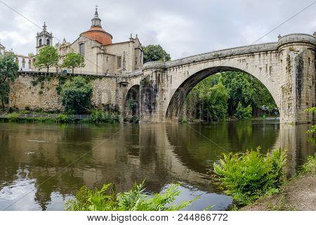 Amarante, Portugal - June 10, 2018 : Bridge Of S. Goncalo On The River Tamega, Porto District, Portu