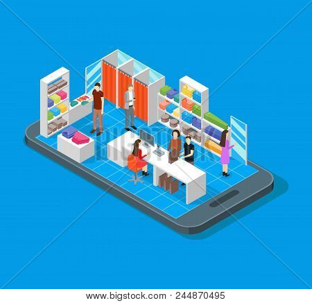 Online Mobile Shopping Concept 3d Isometric View Service Delivery Buy And Payment Fashion Clothes On