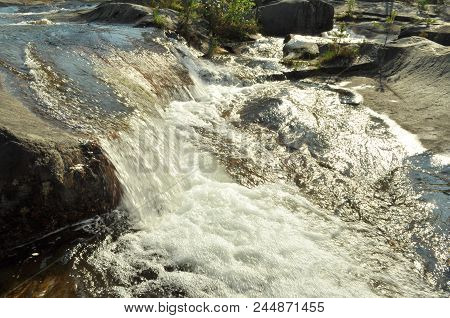 Storforsen Waterfall In The North Of Sweden