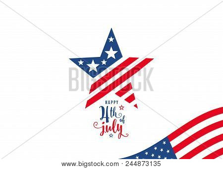 Fourth Of July. 4th Of July Celebration Holiday Banner. Usa Independence Day Poster With Blank Place