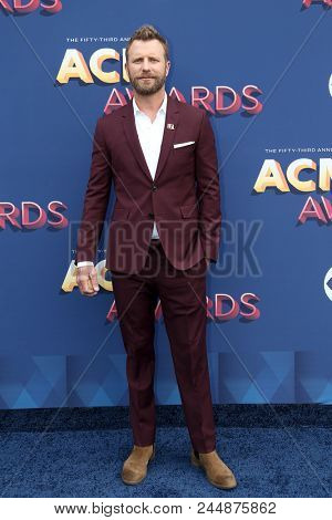 LAS VEGAS-APR 15: Singer Dierks Bentley attends the 53rd Annual Academy of Country Music Awards on April 15, 2018 at the MGM Grand Arena in Las Vegas, Nevada.