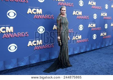 LAS VEGAS-APR 15: Model Rebecca Romijn attends the 53rd Annual Academy of Country Music Awards on April 15, 2018 at the MGM Grand Arena in Las Vegas, Nevada.