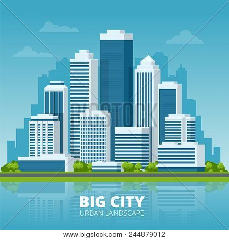 Vector Concept City And Suburban Life. City Street, Large Modern Buildings, Cityscape, Cars. Urban L