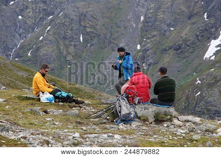 Jotunheimen, Norway - August 1, 2015: People Rest At Besseggen Trail In Jotunheimen National Park, N