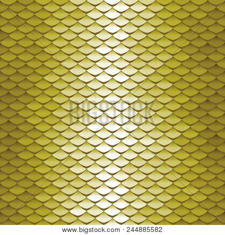 Seamless Scale Pattern. Abstract Roof Tiles Background. Green Squama Texture.