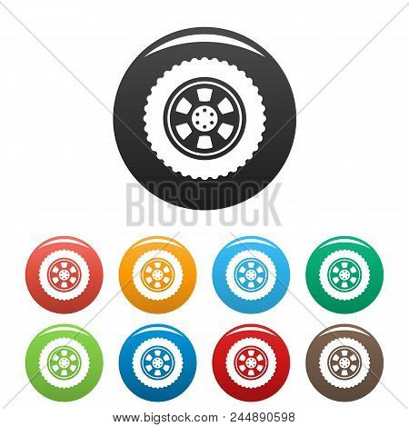 One Tire Icon. Simple Illustration Of One Tire Vector Icons Set Color Isolated On White