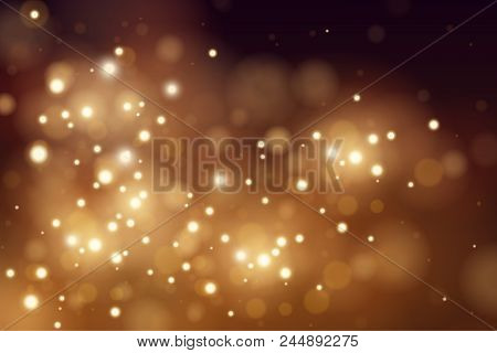 Abstract Defocused Circular Golden Luxury Gold Glitter Bokeh Lights Background. Magic Background. Ep