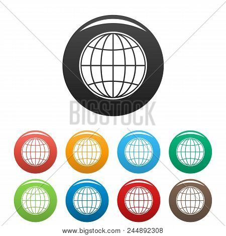 Global Icon. Simple Illustration Of Global Vector Icons Set Color Isolated On White