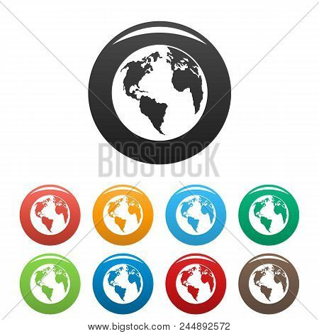 Continent On Planet Icon. Simple Illustration Of Continent On Planet Vector Icons Set Color Isolated