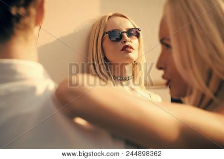 Love Triangle Concept. Jealousy, Alluring, Desire, Romance, Love. Sensual Woman Look At Couple Man W