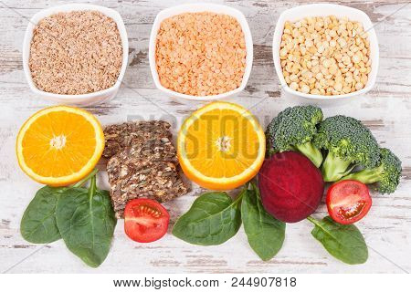 Nutritious ingredients containing vitamin B9, dietary fiber, natural minerals and folic acid, concept of healthy nutrition poster