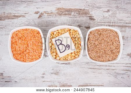 Nutritious different ingredients containing vitamin B9, dietary fiber, natural minerals and folic acid poster