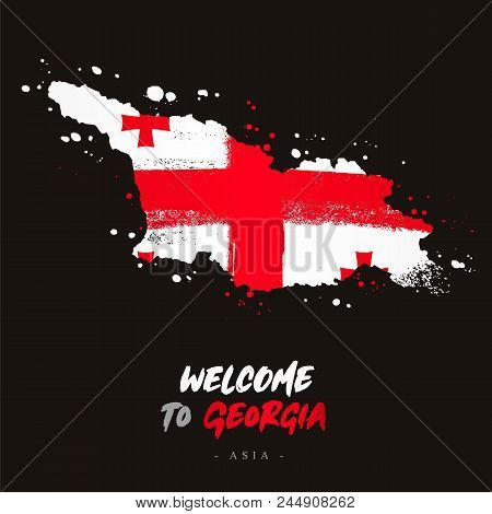 Welcome To Georgia. Asia. Flag And Map Of The Country Of Georgia From Brush Strokes. Lettering. Vect