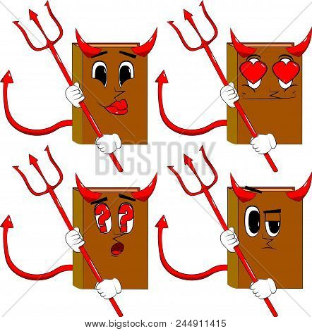 Books Devil With Pitchfork. Cartoon Book Collection With Various Faces. Expressions Vector Set.