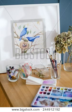 Art Painting. Inspiration And Creative Workspace Concept. Picture Of Birds. Drawing Creations. Artis