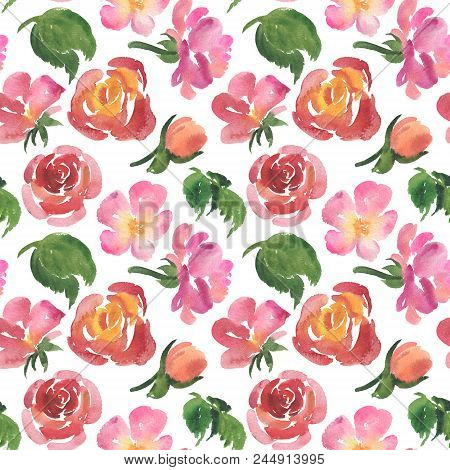 Seamless Pattern Of Watercolor Rose Flowers, Blossoms And Green Leaves On White Background. Watercol