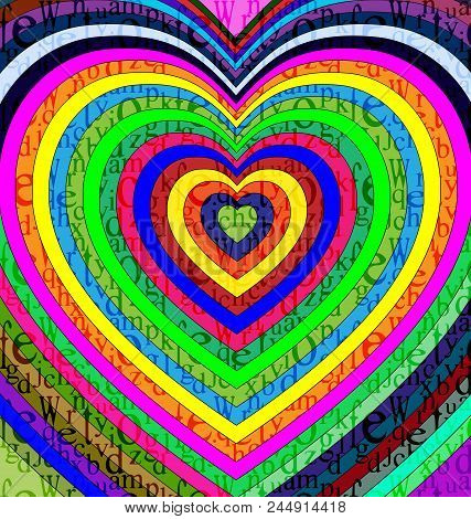 Abstract Colored Background Image Of Heart Consisting Of Lines And Cubes