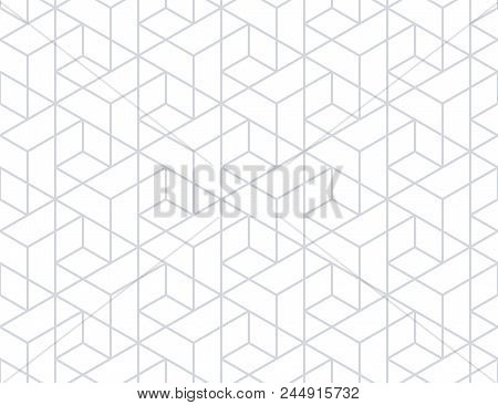 The Geometric Pattern With Lines. Seamless Vector Background. White And Grey Texture. Graphic Modern
