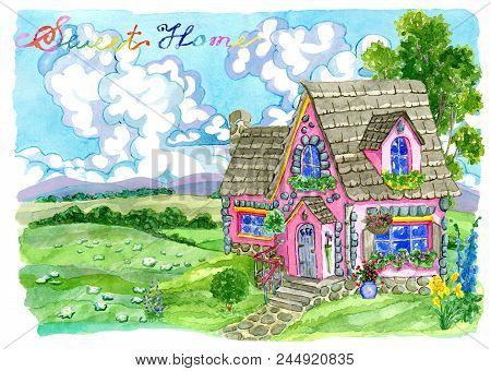 Cute Pink Cottage With Garden Flowers Against Grassland. Vintage Country Background With Summer Rura