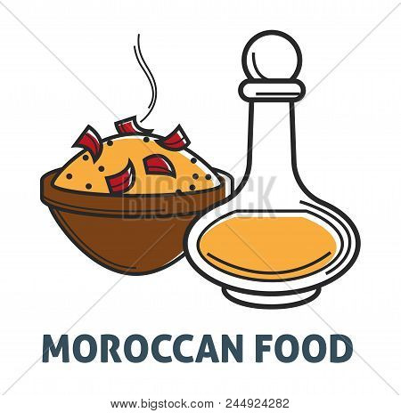 Moroccan Cuisine Food And Drink Symbols. Vector Morocco Dish Of Bulgur Rice With Pepper