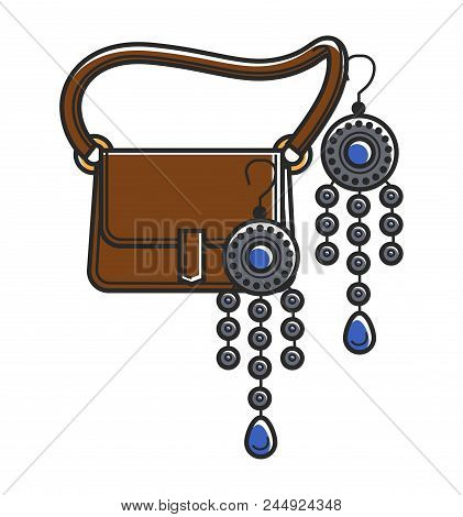 Moroccan Culture And Handicraft Vector Symbols Of Jewelry And Handicraft Bag
