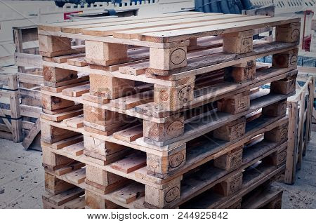Euro Pallets Stacked To Illustrate A Construction Site