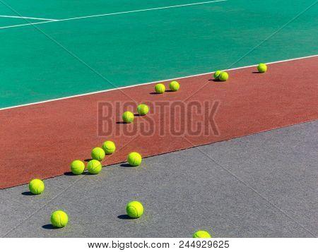 Yellow Tennis Balls On The Tennis Field. Big Tennis