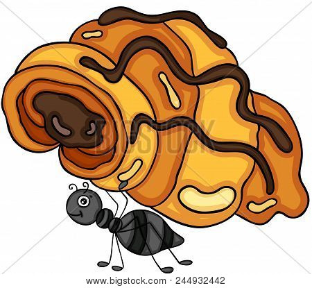 Scalable Vectorial Representing A Ant Carrying A Croissant With Chocolate, Element For Design, Illus