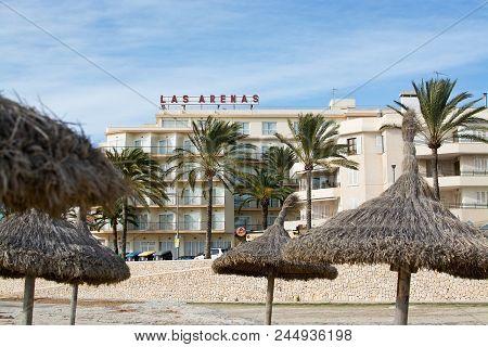 Playa De Palma, Mallorca, Spain - December 14, 2017: Hotel Las Arenas And Winter Beach On A Windy Da