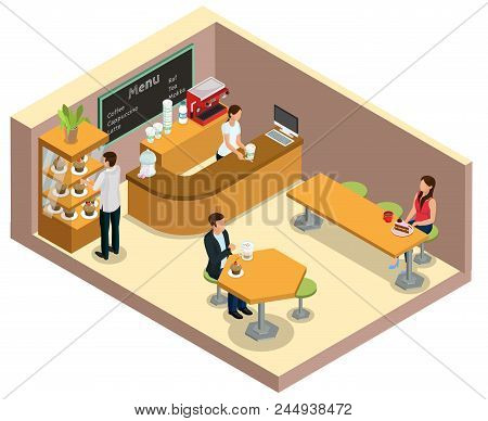Isometric Coffee Shop Interior Concept With Barrister At Counter Customers Drinking Coffee And Eatin