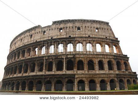 The Coloseum of Rome- over white