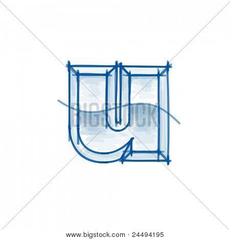 Blueprint font sketch - letter u - marker drawing. Bitmap copy my vector