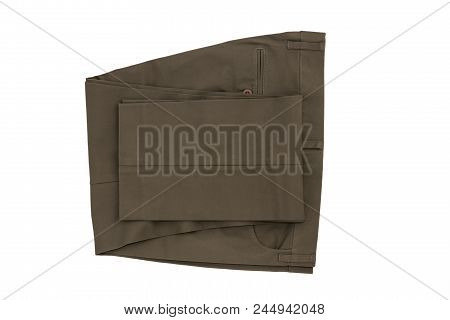 Gray Folded Trousers - New Folded Trousers Fashion With Tag Price Isolated On White Background. Life