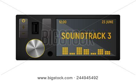 Tape Recorder In The Car. Audio Tuner. Vector Illustration.