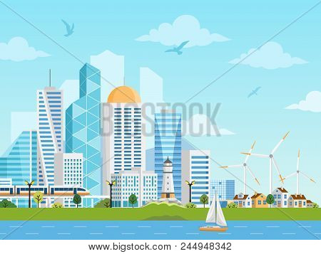 River Side Landscape With Skyscrapers, Private Houses, Subway, Boat And Windmills. City And Suburb V