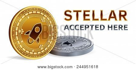 Stellar. Accepted Sign Emblem. Crypto Currency. Golden And Silver Coins With Stellar Symbol Isolated