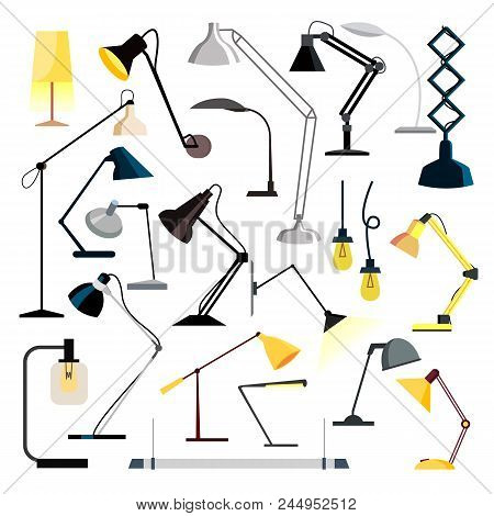 Lamp Set Vector. Table Desk Office Modern Lamps. Different Indoor Electricity Creative Light. Home,