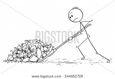 Cartoon Stick Drawing Conceptual Illustration Of Man With Snow Pusher Or Shovel Shoveling The Plasti