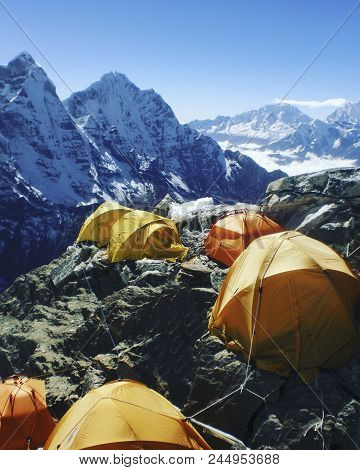 Camping Near North Annapurna Base Camp Overlooking Annapurna Glacier. Outdoor Camping Scenery With S