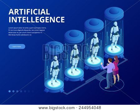 Isometric Robot With Artificial Intelligence. Robot Cybernetic Organism Works With A Virtual Hud Int