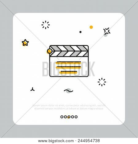 Simple Linear Icon For Clapperboard In Cinematography Composed In White Square On Gray Background