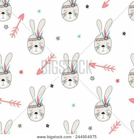Seamless Pattern With Cute Woodland Tribal Hares In Cartoon Style. Vector Illustration For Kids.