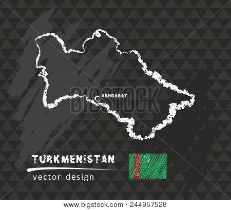 Turkmenistan Map, Vector Pen Drawing On Black Background
