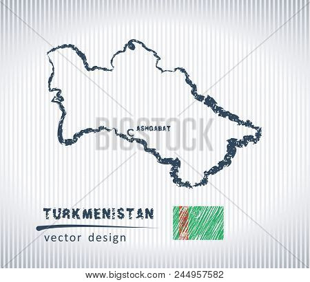 Turkmenistan Vector Chalk Drawing Map Isolated On A White Background