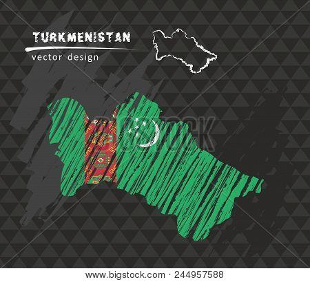 Turkmenistan National Vector Map With Sketch Chalk Flag. Sketch Chalk Hand Drawn Illustration