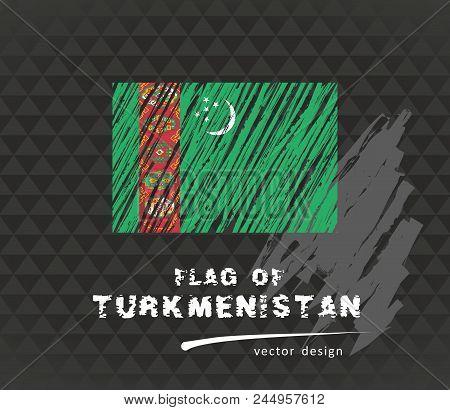 Turkmenistan Flag, Vector Sketch Hand Drawn Illustration On Dark Grunge Background