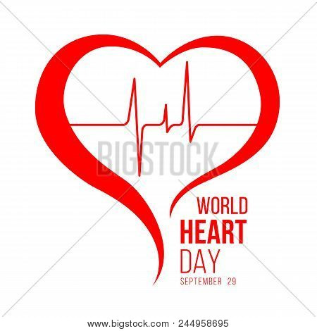 World Heart Day Banner With Red Heart And Wave Heart Human Sign Vector Design